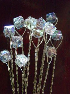 bouquet gems.  Get the wire and then the beads, twist together and add them to the bouquet.