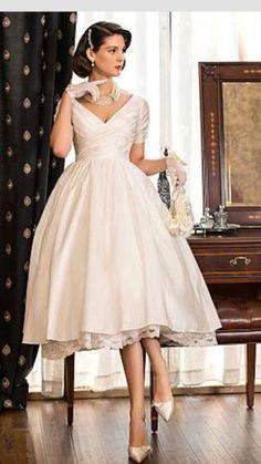 A-Line Princess V-neck Tea Length Taffeta Wedding Dress