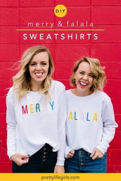 DIY Christmas Sweatshirt with HTV - The Pretty Life Girls | We used the Silhouette Portrait to make these colorful and fun DIY Christmas sweatshirts that you can make for yourself, or to twin with a loved one! We love that they turn the idea of an ugly Christmas sweater on its head a bit, and make dressing for the holiday a little more modern! Plus, the process could not be easier and the results are anything but ugly! #diyproject #craftidea #easycraft #fashionideas #howtomake #vinyl…