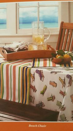 Tommy Bahama Fabric Tablecloth Indoor Outdoor 60 x 102 Beach Chairs White #TommyBahama