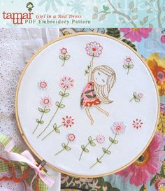 Embroidery Pattern, Instant Download - Girl in a Red Dress