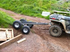 After a year or so of research, I've finally started my atv trailer build. Tandem walking axles, possibly multi-body, tipping trailer. Five feet. Atv Utility Trailer, Lawn Trailer, Quad Trailer, Trailer Diy, Off Road Trailer, Trailer Plans, Trailer Build, Utv Trailers, Trailer Axles