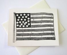 American Flag Note Cards Stationery Set of 10 by PetitePaperie, $10.00