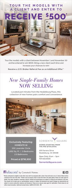New Homes for Sale in Healdsburg, California  New Homes in Healdsburg | Tour the Models and Receive $500  Brokers Welcome!  |  2.5% Broker Referral Fee |  New Single-Family Homes - An Everyday Retreat... bring your clients today!  http://www.elacora.com/where-we-build/northern-california/sorrento-square/