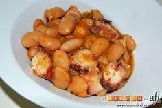 Las legumbres son muy versátiles. Prepara estas ricas fabas con pulpo y lo comprobarás.