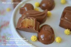 Petits chocolats au chocolat au lait et au coeur caramel fondant