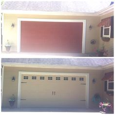Updated Garage Door Pinterest inspired idea for a tired garage door- creamy exterior paint, faux windows (glossy black paint), and carriage hardware. Project cost: $65!