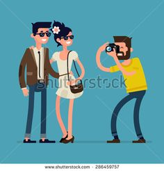 Vector creative character design on young happy couple standing full length posing while photographer taking photos