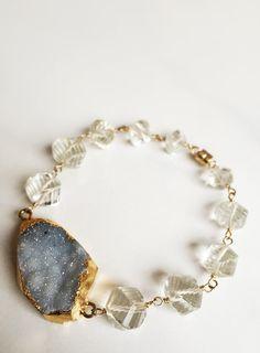 Faceted Quartz Druzy 14k Gold Fill Bracelet by Bellebijouatelier