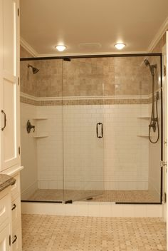 Baroque Basket Weave Tile method Minneapolis Traditional Bathroom Decoration ideas with basket weave tile Custom Cabinetry exposed hinges historic bathroom master shower Over-sized shower subway