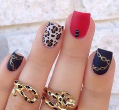 Christmas Nails - Pretty and Trendy Nail Art Designs 2016 . Mustache Nail Art, Nail Art Designs 2016, Trendy Nail Art, Creative Nails, Matte Nails, Black Nails, Red Nail, Simple Nails, Nail Arts