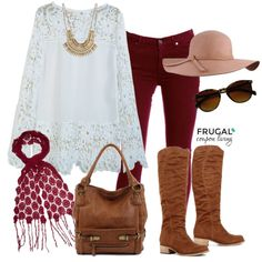 Fall Fashion - the perfect Cranberry Fall Outfit staying true to Fall 2015 trends. Polyvore Outfit of the Day.