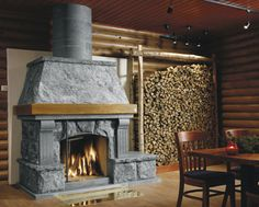 This fireplace stands and warmths in North Karelia Finland in a skiing resort Koli.