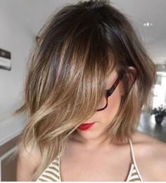 Balayage brunette choppy bob More