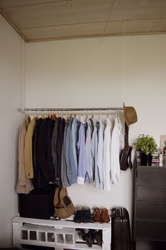 Men Clothes Hanger From Ceiling, Shelve From Pallets. Handcraft Room