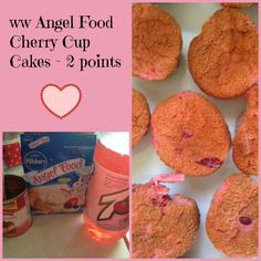 WW Angel Food Cherry Cup Cakes - 2 points!   This recipe is fantastic! It uses only three ingredients to make and is low fat as well!   #weightwatchers #weightwatcherrecipes #ww #wwrecipes #foodies #recipes #lowfat