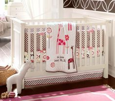 Ava Mod Giraffe Nursery Bedding | Pottery Barn Kids- so cute for a little girl <3