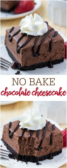 These easy, no bake chocolate cheesecake bars are deliciously creamy with a crunchy Oreo cookie crust and perfect to enjoy all year long! # chocolate cheesecake recipe No Bake Chocolate Cheesecake {Simple & Delicious} No Bake Chocolate Cheesecake, Cheesecake Bars, Chocolate Desserts, Chocolate Chips, Baking Chocolate, Chocolate Cheese Cakes, No Bake Cheescake, Oreo Cheesecake Cupcakes, Raspberry Cheesecake