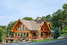 Exterior, horizontal, overall 3/4 view from northwest, McAden residence, Blowing Rock, North Carolina; Log Homes of America