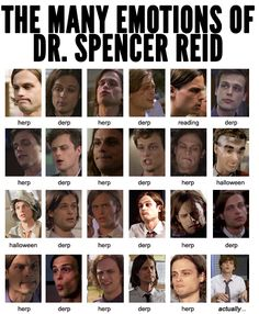 The emotions of Dr. Spencer Reid... I'm laughing so hard it hurts Dr Spencer Reid, Dr Reid, Spencer Reid Criminal Minds, Spencer Reed, Criminal Minds Cast, Crimal Minds, Derek Morgan, Penelope Garcia, Ncis