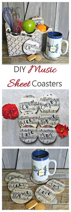 These DIY Music Sheet Coasters have a lovely Farmhouse look to them. Each coaster has a different mood-setting word in silhouette on them. They are super easy to make and so relaxing to use. #TeaProudly #ad