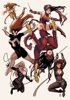 Marvel Girls // artwork by Elizabeth Torque (2011) Featuring (top to bottom): Tigra, Elektra, Spider-Woman I & II, Black Cat and Black Widow.