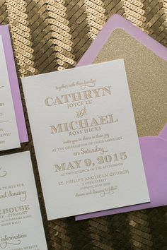 Fabulous Lavender and Gold Glitter Modern Letterpress Wedding Invitations. KRISTEN Glitter Collection by Just Invite Me