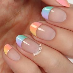 Pastel Rainbow French Tips