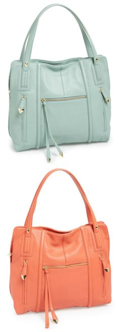Love the pale blue and coral Perlina Leather Tote for spring!