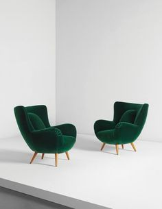 Carlo Mollino, Pair of armchairs, designed for Acotto House, Turin