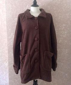 Petites Fleece Jacket Blair Brown Mahogany Womens Petite Large PL New #BlairScandiaWoods #FleeceJacket