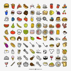 Iconos de cocina Vector Gratis