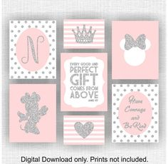 Pink and silver glitter Minnie Mouse room decor Monogram