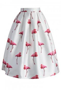 Chic Flamingos Pleated A-line Skirt - Retro, Indie and Unique Fashion