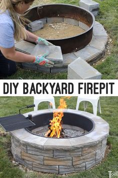 DIY Backyard Firepit made from wall blocks for a 36 fire ring. - Her Tool Belt Make an easy DIY backyard fire pit to roast marshmallows, cook dinner and enjoy the summer evenings. The fire pit is made from wall block. Diy Fire Pit, Fire Pit Backyard, Backyard Patio, Backyard Landscaping, Backyard Seating, Diy Backyard Projects, Best Fire Pit, Back Yard Fire Pit, Outdoor Fire Pits