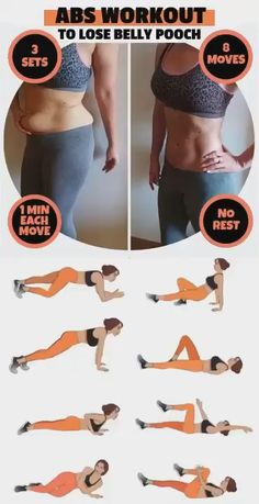 This abs workout is the best way to lose belly pooch and build up stronger core muscles. It also improves body posture, reduces back pain, and keeps the entire body balanced. # Fitness videos Abs Workout To Lose Belly Pooch Fast 8 Minute Ab Workout, Full Body Gym Workout, Slim Waist Workout, Lower Belly Workout, Gym Workout Videos, Fitness Workout For Women, Fitness Workouts, Easy Workouts, Workout Girls