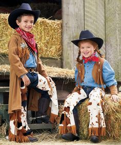 This cowpoke childrens costume includes faux suede vest, wristbands, and chaps with buckle. A Wishcraft costume by Chasing Fireflies. Halloween Costumes For Girls, Halloween Dress, Girl Costumes, Halloween Fun, Kids Cowgirl Costume, Cowboy Costumes, Traje Cowgirl, Toddler Vest, Westerns