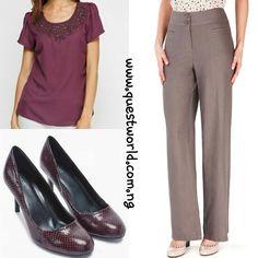 Encrusted Neck Casual Top Purple size 14 16 #6500 Linen Trouser size 20 #5500 Shoe size 6.5/40 #12000  www.questworld.com.ng www.konga.com/QUEST-WORLD-BOUTIQUE