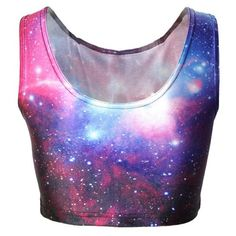 Active Galaxy Printed Bodycon Cropped Tank Top For Women (135 ARS) ❤ liked on Polyvore featuring tops, shirts, crop tops and galaxy