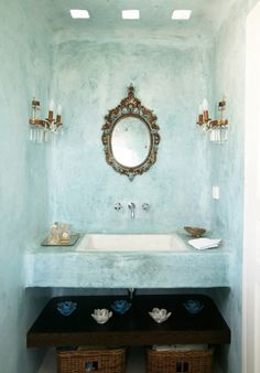 Bathroom In A Greek House Sink Aqua