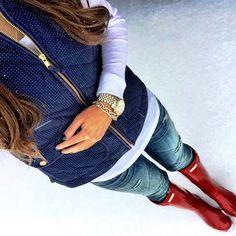 Red wellies distressed denim blue vest. #winter #wellies