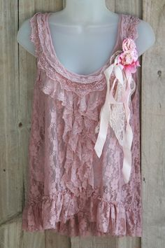 Romantic Pink Ruffled Net Lace Top With Tattered French Silk