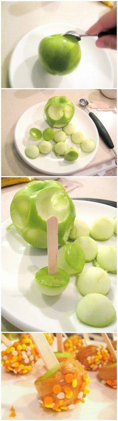 Simple and delicious! Everyone loves food on sticks! Mini Caramel Apples Recipe!
