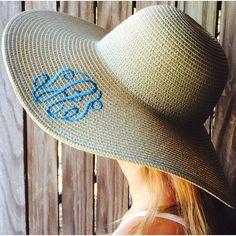 Monogrammed Floppy Sun Hat for the perfect summer accessory. www.monogramsmarkingsandmore.com