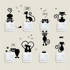 Cheap Wall Stickers, Buy Directly from China Suppliers:Lovely Cat Light Switch Phone Wall Stickers For Kids Rooms Diy Home Decoration Cartoon Animals Wall Decals Pvc Mural Art Mural Art, Wall Art, Cat Light, Wall Painting Decor, Animal Wall Decals, Cat Decals, Pvc Wall, Ornaments