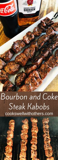 grilling recipes Bourbon and Coke Steak Kabobs Kabob Recipes, Gourmet Recipes, Cooking Recipes, Steak Recipes, Ark Recipes, Best Bbq Recipes, Summer Grilling Recipes, Grilling Ideas, Cooking Fish