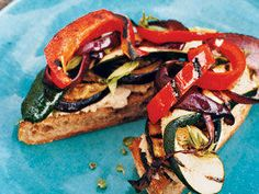 Open Barbecued-Vegetable Sandwiches - Check off three vegetable serves and satisfy your vitamin C needs with this salad on a roll. Barbecuing tempers the eggplant's bitterness and adds a sweet, smoky flavour to the vegies. Bonus: more than half of the fat is the flat-belly-friendly monounsaturated kind.
