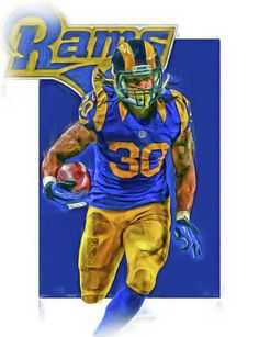 Todd Gurley Print featuring the mixed media Todd Gurley Los Angeles Rams Oil Art 2 by Joe Hamilton