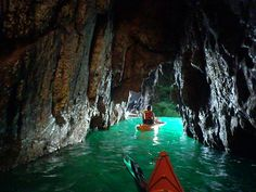 Kayaking in caves on Sark Island (Channel Islands, Europe)