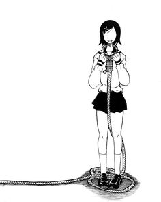 black_hair faceless fuura_kafuka hair_ornament hairclip holding monochrome noose rope sayonara_zetsubou_sensei school_uniform serafuku shadow short_hair simple_background skirt smile solo standing